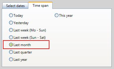 Jednoduché nastavení časového období na poslední měsíc